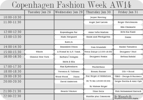Copenhagen Fashion Week program 2014